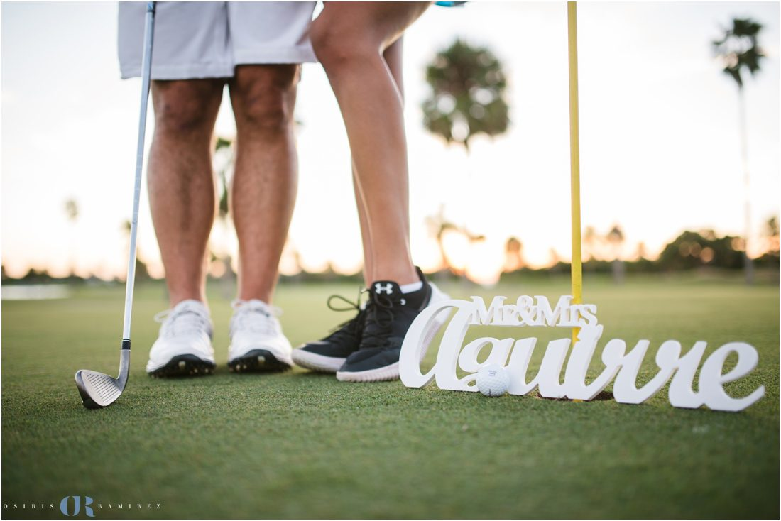 golf theame engagement photos